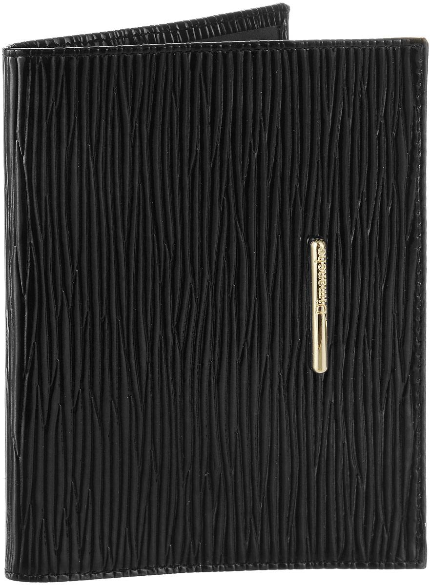 Обложка для паспорта женская Dimanche Nice, цвет: черный. 740740Элегантная обложка для паспорта из натуральной лаковой кожи с оригинальным тиснением и изящным украшением. На внутреннем развороте два кармана из прозрачного пластика.