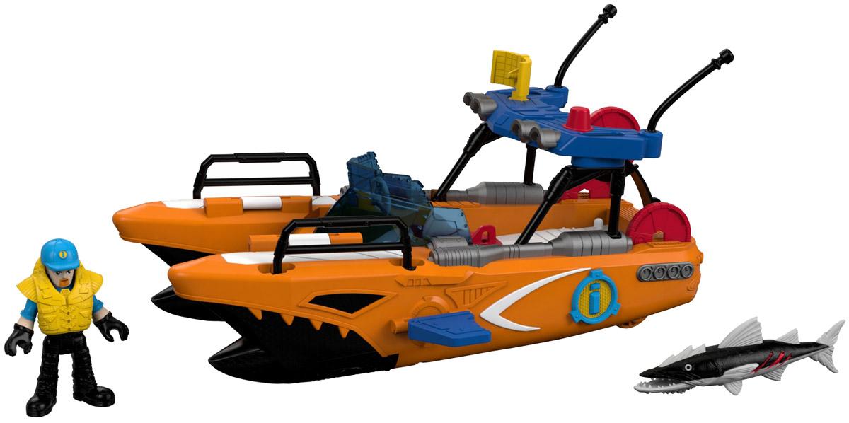 Imaginext Спасательная турбо-лодкаP5487_DTL95Как остановить большую и страшную барракуду? Конечно с помощью отважного спасателя на турбо-лодке! Спасательная турбо-лодка Imaginext оснащена выдвигающимися торпедными аппаратами, может стрелять торпедами и дисками. Для того, чтобы торпедные аппараты выдвинулись из корпуса турбо-лодки, достаточно повернуть фигурку спасателя, стоящего на палубе в специальных упорах, вправо и влево. Для выстрела необходимо нажать на красную кнопку, расположенную на корпусе торпедного аппарата. Диски выстреливаются с кормы лодки с помощью катапульты. Голова, руки и ноги фигурки спасателя, а также челюсти и плавник барракуды подвижны. В комплекте с лодкой идет фигурка спасателя, бейсболка и спасательный жилет, 3 диска, 2 торпеды, и конечно же, злобная барракуда.