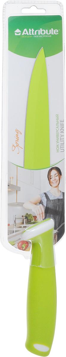 Нож универсальный Attribute Knife Spring Green, длина лезвия 19 смAKZ220Универсальный нож Attribute Knife Spring Green изготовлен из высококачественной стали. Очень удобная и эргономичная рукоятка, выполненная из резиновой смеси, не позволит ножу скользить в вашей руке обеспечит безопасность при нарезке продуктов. Нож предназначен для нарезки мяса, овощей и фруктов. Такой нож займет достойное место среди аксессуаров на вашей кухне. Длина лезвия: 19 см. Общая длина ножа: 32,5 см.