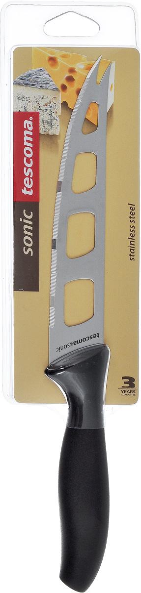 Нож для сыра Tescoma Sonic, длина лезвия 14 см862032Нож для сыра Tescoma Sonic превосходно подходит для нарезки твердых и мягких сыров, также на конце лезвия имеется вилка - для сервировки сыра. Нож изготовлен из высококачественной нержавеющей стали. Специальный дизайн и угол лезвия ножа позволяют резать сыр таким образом, что он не будет ломаться. Длина лезвия: 14 см. Длина ножа: 27 см.