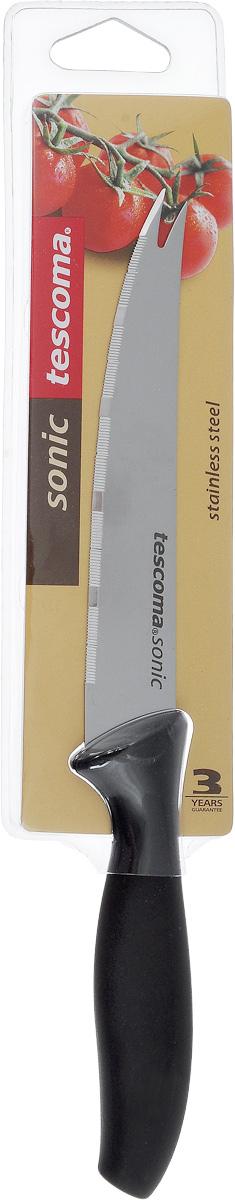 Нож для овощей Tescoma Sonic, длина лезвия 12 см862014Нож Tescoma Sonic предназначен специально для бережного нарезания овощей или фруктов. Лезвие выполнено из высококачественной нержавеющей стали, а ручка из прочного пластика с противоскользящим покрытием. Изделие легко чиститься. Можно мыть в посудомоечной машине. Общая длина ножа: 23 см. Длина лезвия: 12 см.