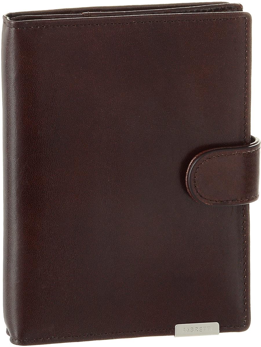 Обложка для документов мужская Fabretti, цвет: темно-коричневый. 5300353003-brownМужская обложка для документов Fabretti выполнена из натуральной кожи. Изделие раскладывается пополам и закрывается на хлястик с кнопкой. Обложка содержит съемный блок из шести прозрачных файлов из мягкого пластика, один из которых формата А5, два боковых прозрачных кармана и отделение для паспорта с тремя боковыми карманами и пятью кармашками пластиковых карт, один из которых с прозрачным окошком. Изделие упаковано в фирменную коробку. Модная обложка для документов поможет сохранить их внешний вид и защитить от повреждений.
