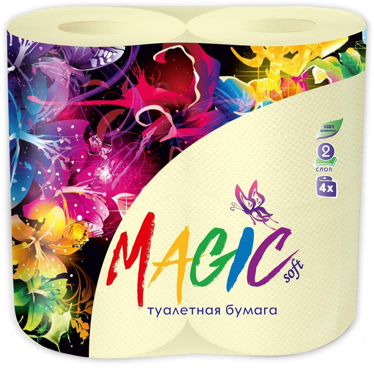 Туалетная бумага Magic Soft, цвет: желтый, 4 рулона20027Для бытового и санитарно-гигиенического назначения. Одноразового использования.