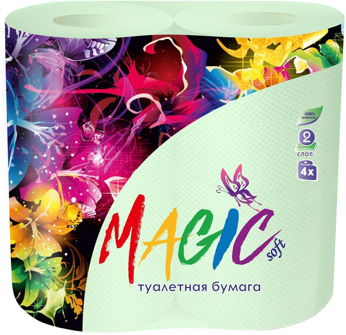 Туалетная бумага Magic Soft, цвет: зеленый, 4 рулона20041Для бытового и санитарно-гигиенического назначения. Одноразового использования.