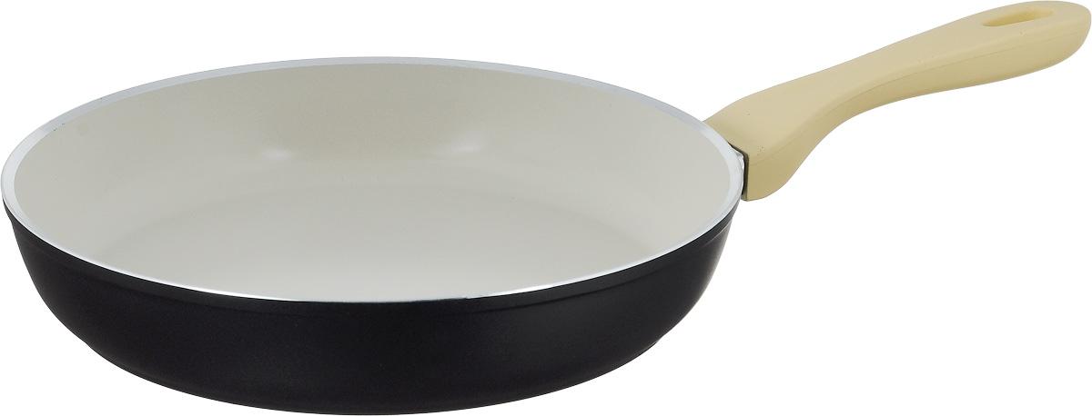 Сковорода Attribute Avorio, с керамическим покрытием. Диаметр 28 смAFA028Сковорода Attribute Avorio изготовлена из алюминия с высококачественным керамическим покрытием. Керамика не содержит вредных примесей ПФОК, что способствует здоровому и экологичному приготовлению пищи. Кроме того, с таким покрытием пища не пригорает и не прилипает к стенкам, поэтому можно готовить с минимальным добавлением масла и жиров. Гладкая, идеально ровная поверхность сковороды легко чистится. Эргономичная ручка специального дизайна выполнена из пластика с покрытием soft-touch, удобна в эксплуатации. Сковорода подходит для использования на всех типах плит, но кроме индукционных. Также изделие можно мыть в посудомоечной машине. Высота стенки: 5,2 см. Длина ручки: 20 см.