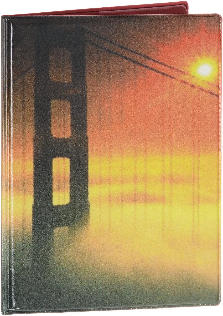 """Обложка на паспорт Эврика """"Мост №2"""", цвет: красный, желтый. 94380"""