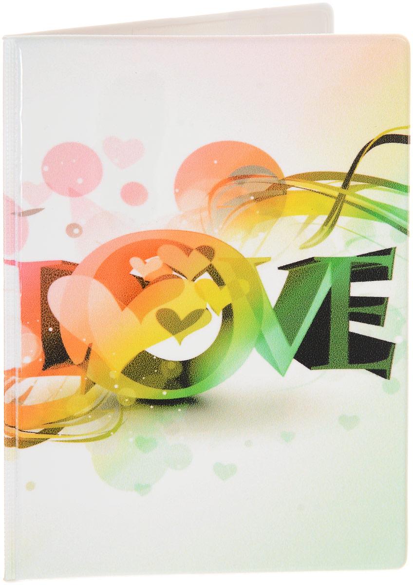 """Обложка на паспорт Эврика """"№163 Love"""", цвет: белый, красный, зеленый. 93290"""