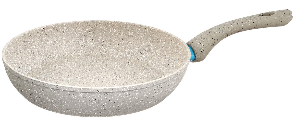 Сковорода Fissman White Stone, с антипригарным покрытием. Диаметр 28 смAL-4984.28Сковорода Fissman White Stone изготовлена из алюминия с трехслойным антипригарным покрытием Platinum. Такое покрытие стойкое к появлению царапин и истиранию. Толстое, идеально гладкое дно обеспечивает равномерное распределение тепла. Сковорода оснащена удобной бакелитовой ручкой, которая не нагревается в процессе приготовления пищи. Сковорода Fissman White Stone создана, чтобы удовлетворить потребности самых взыскательных кулинаров и профессиональных шеф-поваров. Это результат сочетания уникального производственного процесса, современного дизайна, непревзойденного качества и использования передовых сертифицированных материалов. Подходит для использования на всех типах плит, даже на индукционных. Можно мыть в посудомоечной машине. Подарок к контейнеру идет мягкая подставка под горячее. Высота стенки: 6 см. Длина ручки: 18 см.
