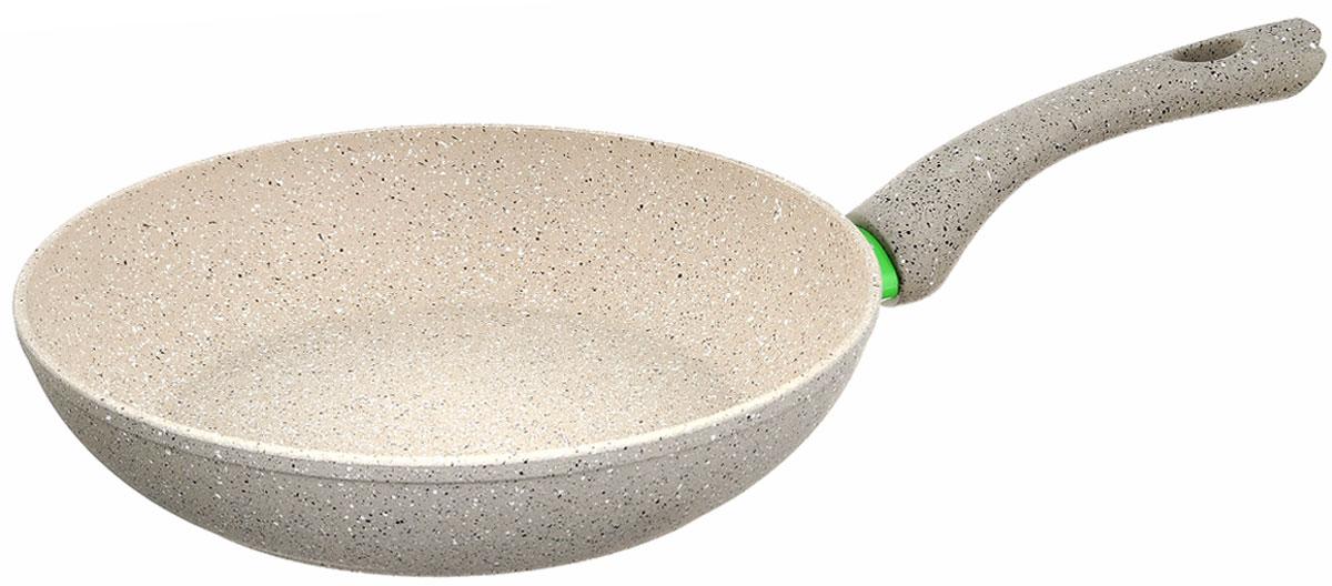 Сковорода Fissman White Stone, с антипригарным покрытием. Диаметр 26 смAL-4983.26Сковорода Fissman White Stone изготовлена из алюминия с трехслойным антипригарным покрытием Platinum. Такое покрытие стойкое к появлению царапин и истиранию. Толстое, идеально гладкое дно обеспечивает равномерное распределение тепла. Сковорода оснащена удобной бакелитовой ручкой, которая не нагревается в процессе приготовления пищи. Сковорода Fissman White Stone создана, чтобы удовлетворить потребности самых взыскательных кулинаров и профессиональных шеф-поваров. Это результат сочетания уникального производственного процесса, современного дизайна, непревзойденного качества и использования передовых сертифицированных материалов. Подходит для использования на всех типах плит, даже на индукционных. Можно мыть в посудомоечной машине. Подарок к контейнеру идет мягкая подставка под горячее. Высота стенки: 5,5 см. Длина ручки: 17,5 см.