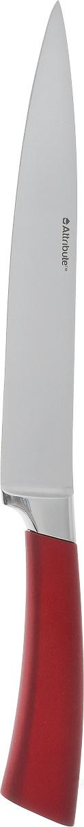 Нож универсальный Attribute Knife Tango, длина лезвия 20 смAKT120Универсальный нож Attribute Knife Tango изготовлен из первоклассной нержавеющей стали и предназначен для нарезки фруктов, сыра и приготовления бутербродов. Лезвие сделано из высококачественной хромо-молибденово- ванадиевой стали из Германии. Технология холодной закалки обеспечивает долгую заточку и повышенную устойчивость к коррозии. Такой нож станет прекрасным дополнением к коллекции ваших кухонных аксессуаров и не займет много места при хранении. Общая длина ножа: 33 см.