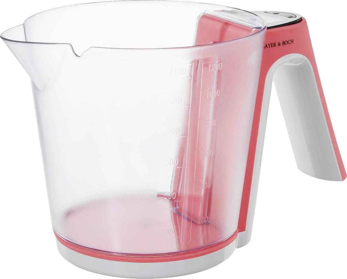 Весы кухонные Mayer & Bosh, с чашей, цвет: белый, коралловый, до 2 кг. 1095610956_белый, коралловыйВесы кухонные Mayer & Boch позволят вам взвесить с точностью до грамма продукты весом до 2 кг. Корпус весов и чаша для продуктов выполнены из высококачественного пластика. Съемная чаша весов оформлена в виде большого мерного стакана. Весы оснащены электронным дисплеем. На корпусе расположены две кнопки управления: кнопка включения/отключения и обнуления веса - On/Off/Tare и кнопка выбора меры весов - Unit. Если вы забудете отключить весы, они отключатся автоматически. Дно весов снабжено четырьмя противоскользящими ножками. Кухонные весы Mayer & Boch придутся по душе каждой хозяйке и станут незаменимым аксессуаром на кухне. Нагрузка: 2-2000 г. Питание: 2 х ААА (входят в комплект). Размер весов: 20 х 13 х 11 см. Размер мерного стакана: 15,5 х 14 х 13 см. Объем стакана: 1200 мл.