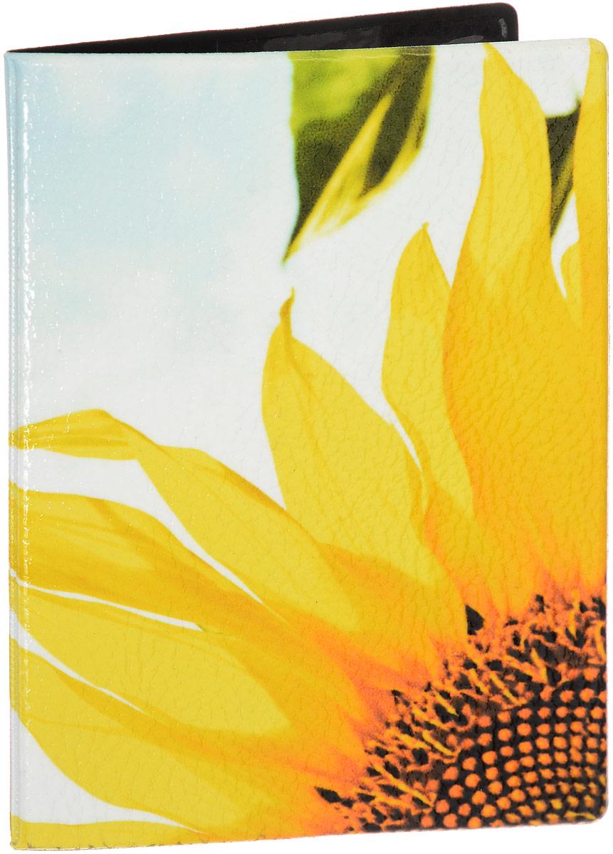 """Обложка на паспорт Эврика """"№168 один подсолнух"""", цвет: белый, желтый. 93295"""