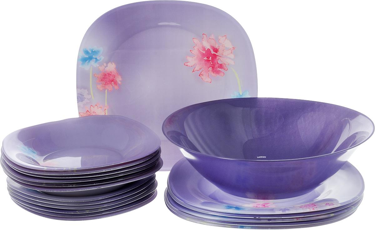 Столовый набор Luminarc Angel Purple, 19 прeдметовJ2110Столовый набор Luminarc Angel Purple состоит из 6 суповых тарелок, 6 обеденных тарелок, 6 десертных тарелок и салатника. Изделия выполнены из ударопрочного стекла, с ярким цветочным дизайном. Посуда отличается прочностью, гигиеничностью и долгим сроком службы, она устойчива к появлению царапин и резким перепадам температур. Такой набор прекрасно подойдет как для повседневного использования, так и для праздников или особенных случаев. Столовый набор Luminarc Angel Purple - это не только яркий и полезный подарок для родных и близких, это также великолепное дизайнерское решение для вашей кухни или столовой. Изделия можно мыть в посудомоечной машине и использовать в СВЧ-печи. Диаметр суповой тарелки: 20 см. Диаметр обеденной тарелки: 25 см. Диаметр десертной тарелки: 18 см. Диаметр салатника: 27 см. Высота стенки салатника: 8 см.