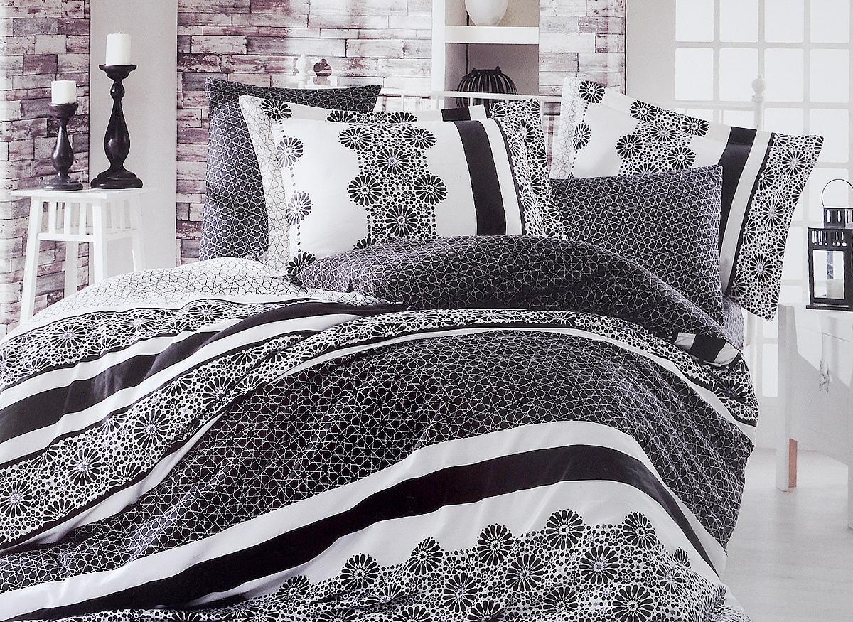 Комплект белья Hobby Home Collection Lisa, семейный, наволочки 50x70, 70x701501000993Комплект белья Hobby Home Collection Lisa состоит из простыни, 2 пододеяльников и 4 наволочек. Белье выполнено из сатина - это ткань из 100% натурального хлопка, которая легко стирается, практичнее льна, подстраивается под температуру воздуха - зимой на таком белье тепло, летом - прохладно. Мягкость и нежность материала создает чувство комфорта и защищенности. Помимо своих внешних качеств, ткань отличается хорошей способностью пропускать воздух, и прекрасно впитывать влагу, благодаря чему, оно подойдет людям, которые не переносят синтетическую ткань, и прочие материалы, смешанные с синтетикой. Белье практически не мнется. Постельное белье с оригинальными дизайнами станет отличным выбором для людей, стремящихся всегда быть в центре внимания.