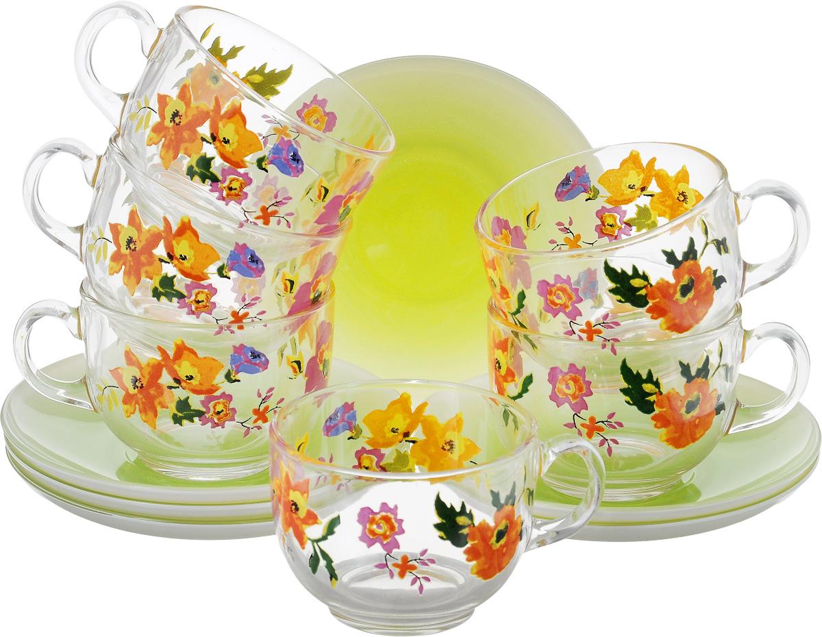 Набор чайный Luminarc Maritsa Green, 12 предметовJ7599Чайный набор Luminarc Maritsa Green состоит из 6 чашек и 6 блюдец. Изделия выполнены из высококачественного ударопрочного стекла, украшены красивым цветочным узором. Посуда отличается прочностью, гигиеничностью и долгим сроком службы, она устойчива к появлению царапин и резким перепадам температур. Такой набор прекрасно подойдет как для повседневного использования, так и для праздников или особенных случаев. Чайный набор Luminarc - это не только яркий и полезный подарок для родных и близких, это также великолепное дизайнерское решение для вашей кухни или столовой. Изделия можно мыть в посудомоечной машине и использовать в СВЧ-печи. Объем чашки: 220 мл. Диаметр чашки (по-верхнему краю): 8 см. Высота чашки: 6,3 см. Диаметр блюдца: 13,5 см. Высота блюдца: 2 см.