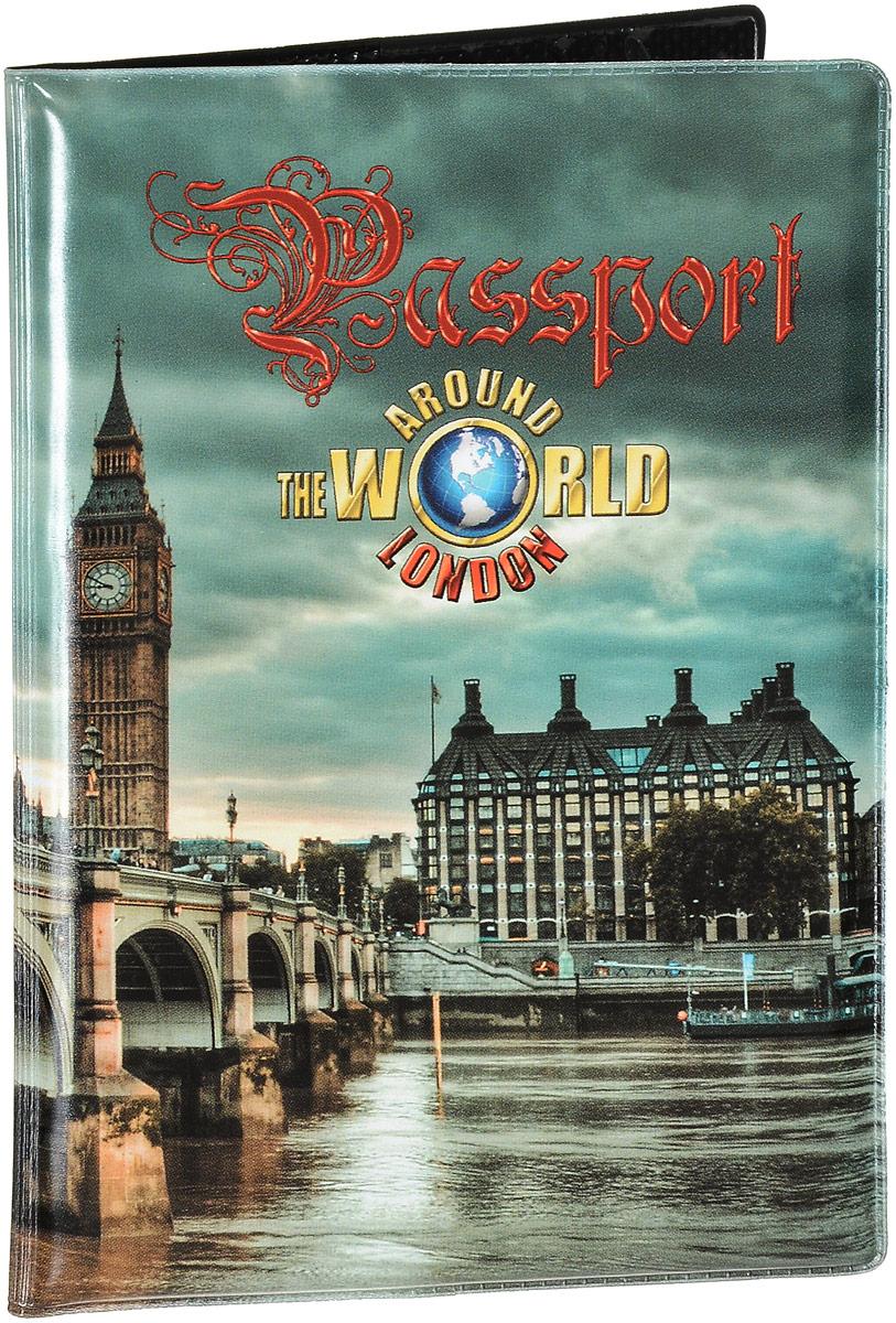 """Обложка на паспорт Эврика """"№263 Лондон"""", цвет: зеленый, черный. 96061"""