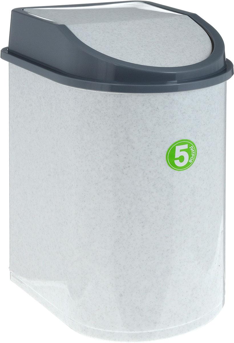 Контейнер для мусора Idea, цвет: мраморный, серый, 5 лМ 2480Мусорный контейнер Idea, выполненный из прочного полипропилена (пластика), не боится ударов и долгих лет использования. Изделие оснащено плавающей крышкой, с помощью которой его легко использовать. Крышка плотно прилегает, предотвращая распространение запаха. Вы можете использовать такой контейнер для выбрасывания разных пищевых и непищевых отходов. Контейнер может пригодиться также в ванной комнате или у туалетного столика.