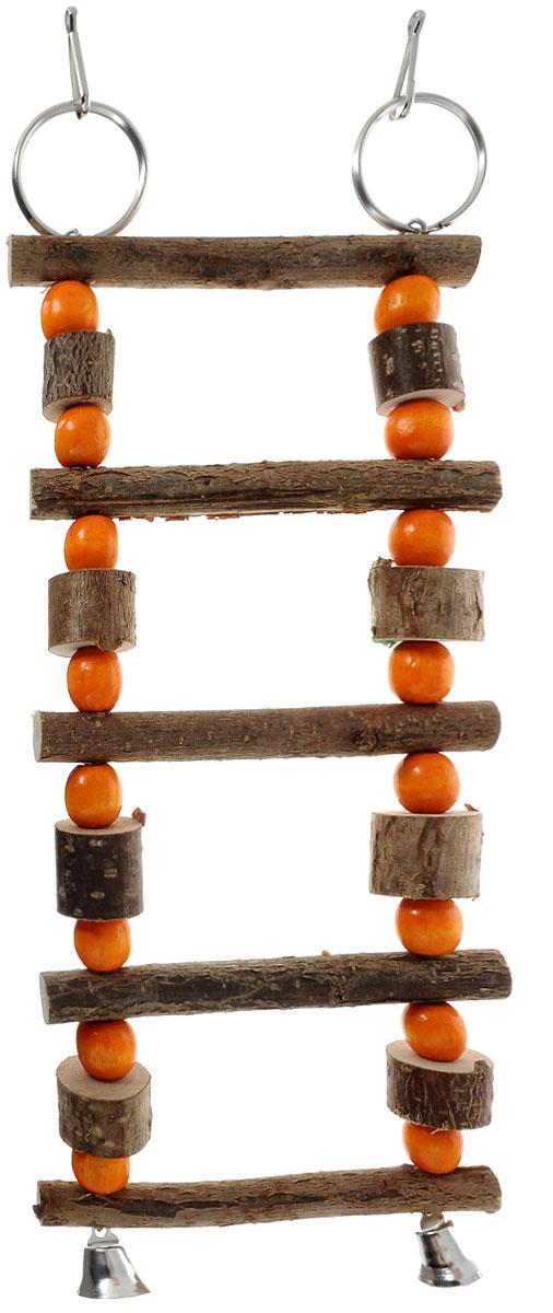 Игрушка для птиц Zoobaloo Лесенка бочонки с бусинками, 22 х 10 х 2 см5353Игрушка Zoobaloo Лесенка бочонки с бусинками предназначена для птиц. Изделие изготовлено из дерева и металла. Лесенка снабжена специальными кольцами для фиксации в клетке и двумя колокольчиками. Такая игрушка не даст вашему любимцу заскучать.