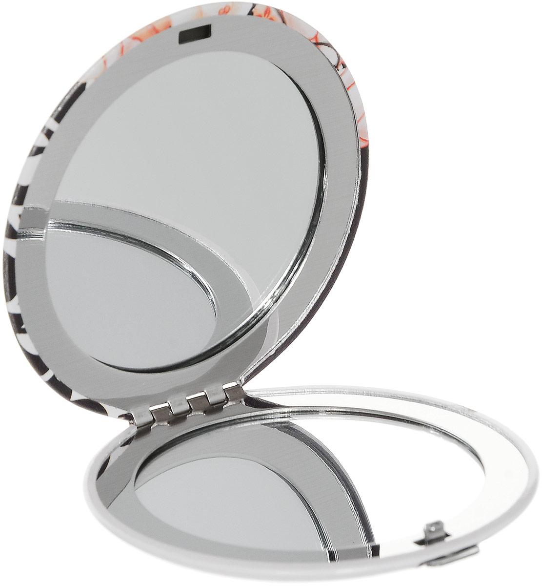 Зеркало карманное Kimmidoll Кайо. KF1119KF1119Изящное зеркало Kimmidoll Кайо выполнено в круглом металлическом корпусе и декорировано ярким изображением. Внутри корпуса расположено два зеркальца - обычное и увеличивающее. Такое зеркало станет отличным подарком представительнице прекрасного пола, ведь даже самая маленькая дамская сумочка обязательно вместит в себя миниатюрное зеркальце - атрибут каждой модницы.