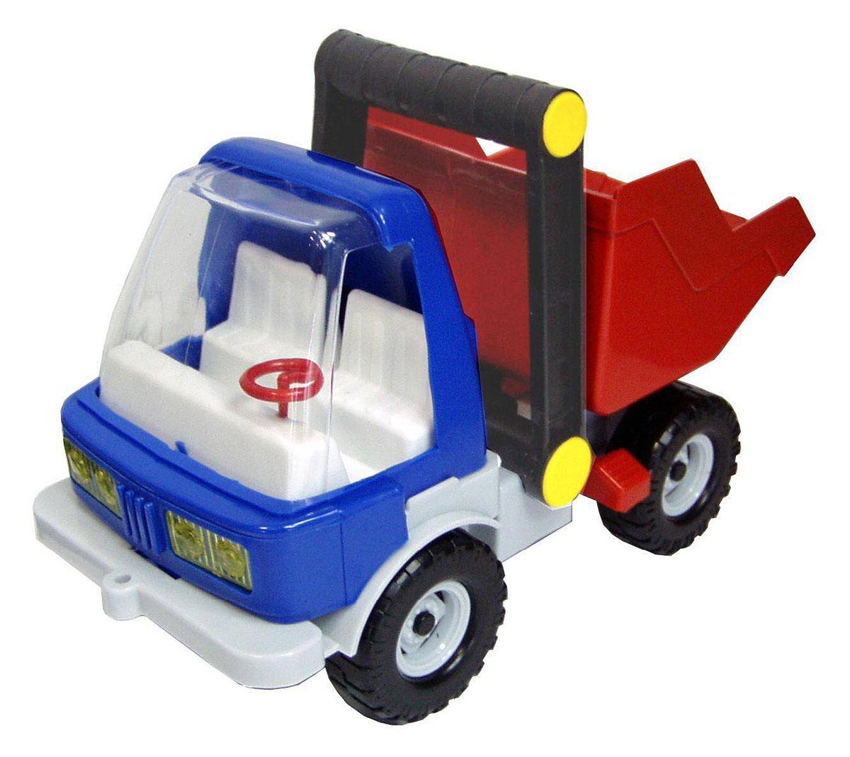 Форма СамосвалС-133-ФВот что понравится вашему сорванцу - строительный автомобиль-самосвал от компании Форма. В кабину машины можно посадить маленькие фигурки. Большой самосвал имеет просторный кузов, который можно наполнить песком или любым игрушечным грузом. Кузов игрушки откидывается, что предоставит малышу дополнительный простор для игры. Кузов можно зафиксировать с помощью специальной защелки. Большие ребристые колеса обеспечивают плавность хода машинки. Игрушка выполнена из прочного высококачественного пластика. Игры с такой машинкой развивают концентрацию внимания, координацию движений, мелкую и крупную моторику, цветовое восприятие и воображение. Малыш будет с удовольствием играть с этим самосвалом, придумывая различные истории.