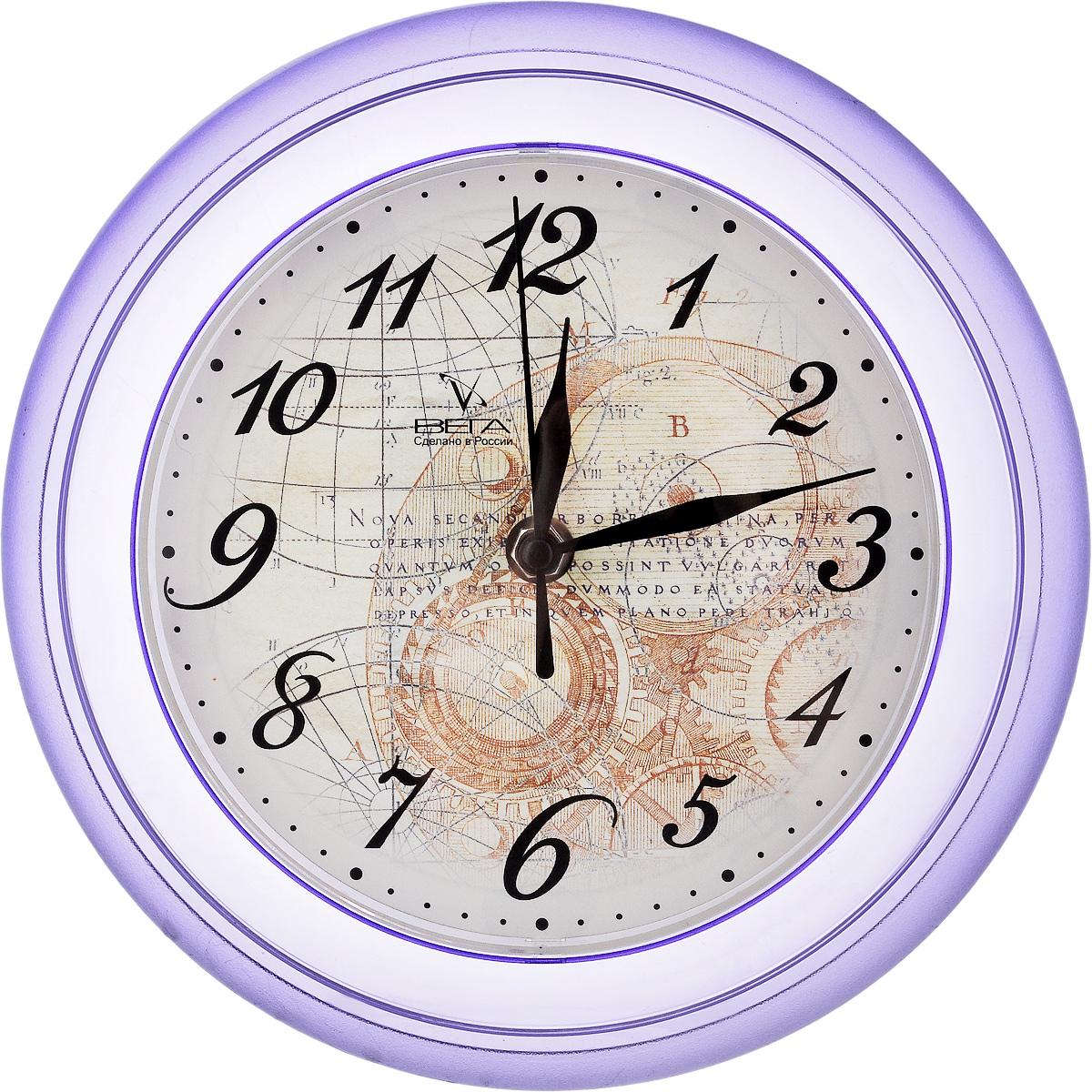 Часы настенные Вега Географические, диаметр 22,5 смП6-13-13Настенные кварцевые часы Вега Географические в классическом дизайне, изготовленные из пластика, прекрасно впишутся в интерьер вашего дома. Круглые часы имеют три стрелки: часовую, минутную и секундную, циферблат защищен прозрачным стеклом. Часы работают от 1 батарейки типа АА напряжением 1,5 В (не входит в комплект). Диаметр часов: 22,5 см.