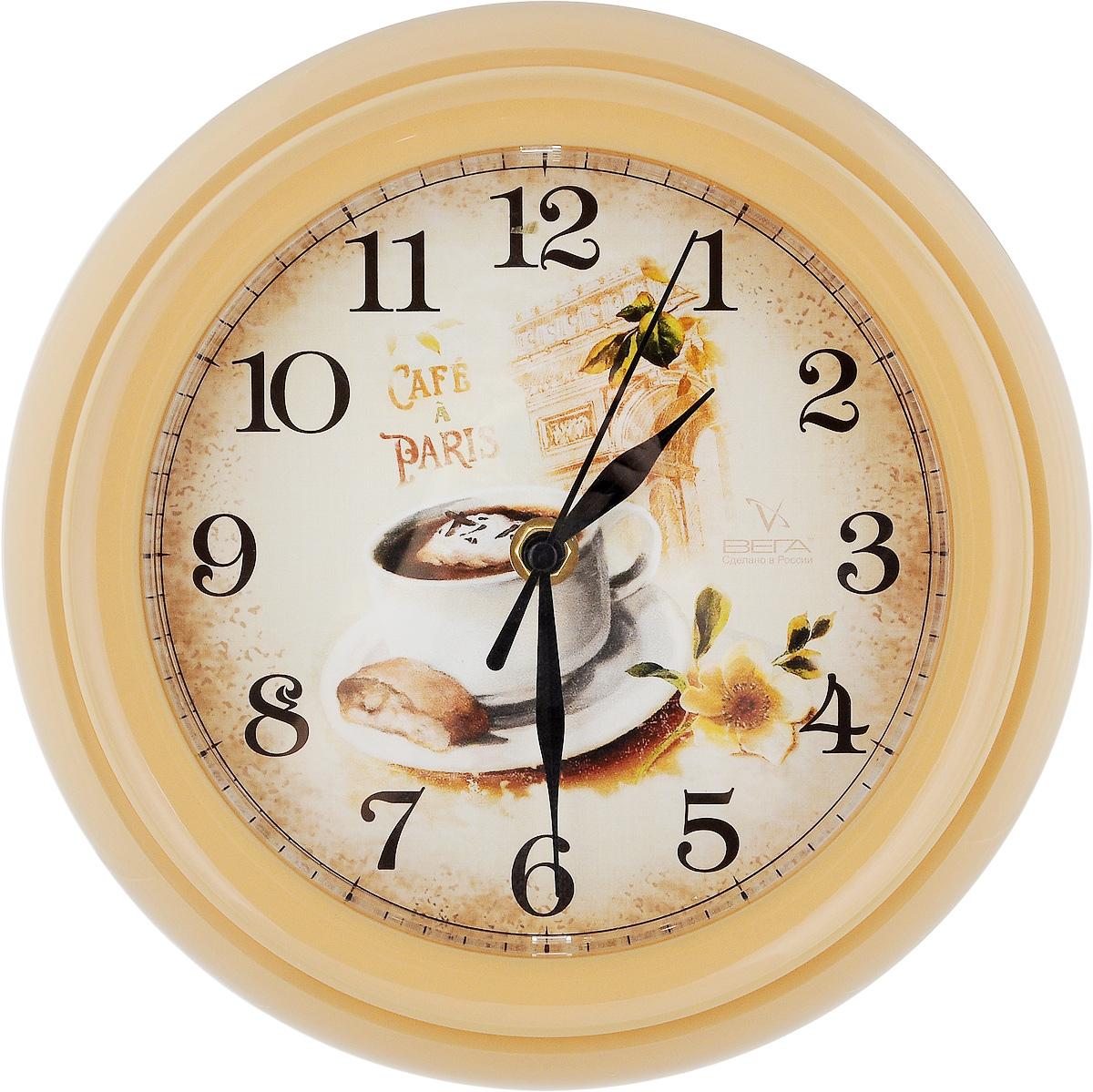 """Часы настенные Вега """"Кофе"""", диаметр 22,5 см"""