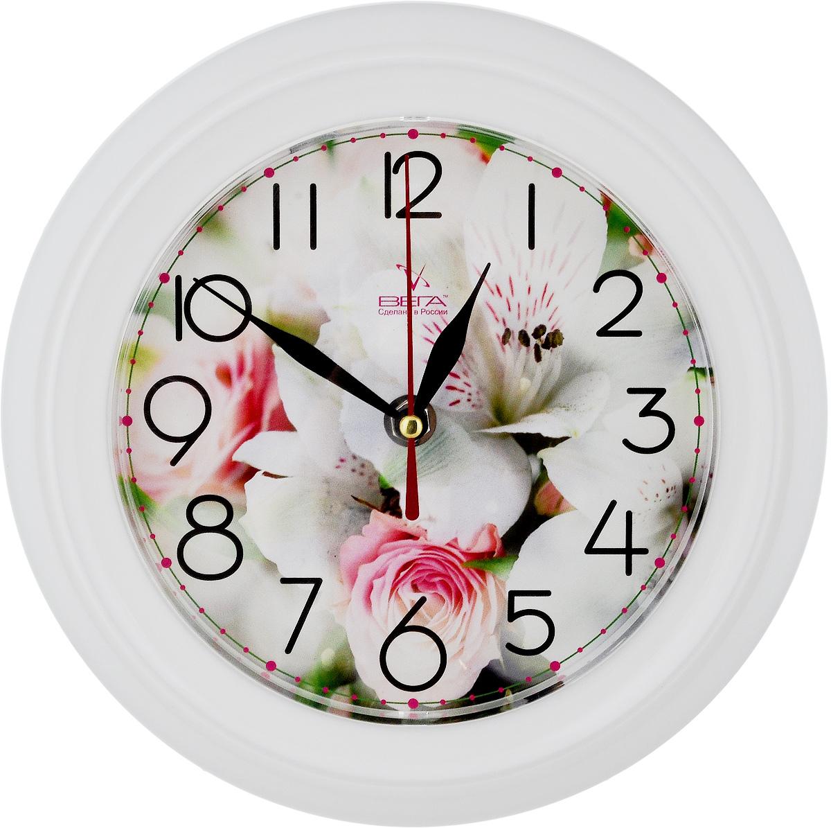 Часы настенные Вега Нежность, диаметр 22,5 смП6-7-106Настенные кварцевые часы Вега Нежность в классическом дизайне, изготовленные из пластика, прекрасно впишутся в интерьер вашего дома. Круглые часы имеют три стрелки: часовую, минутную и секундную, циферблат защищен прозрачным стеклом. Часы работают от 1 батарейки типа АА напряжением 1,5 В (не входит в комплект). Диаметр часов: 22,5 см.