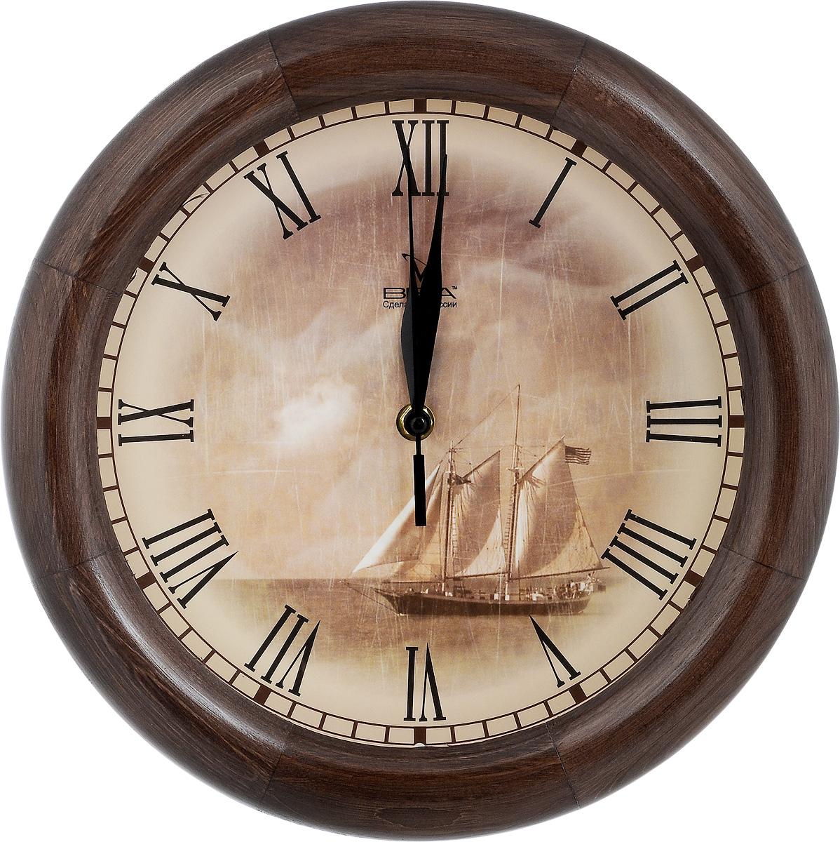 Часы настенные Вега Парусник, диаметр 30 смД1МД/7-8Настенные кварцевые часы Вега Парусник, изготовленные из дерева, прекрасно впишутся в интерьер вашего дома. Часы имеют три стрелки: часовую, минутную и секундную, циферблат защищен прозрачным стеклом. Часы работают от 1 батарейки типа АА напряжением 1,5 В (не входит в комплект). Диаметр часов: 30 см.