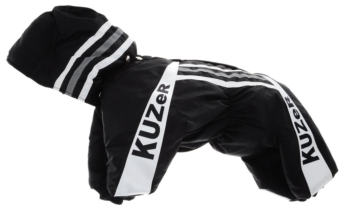 Комбинезон для собак Kuzer-Moda Игла, для мальчика, утепленный. Размер MKZ000509Стильная и лаконичная модель в спортивном стиле. Капюшон, фирменные нашивки, застежка на кнопках, трикотажные манжеты и горловина.