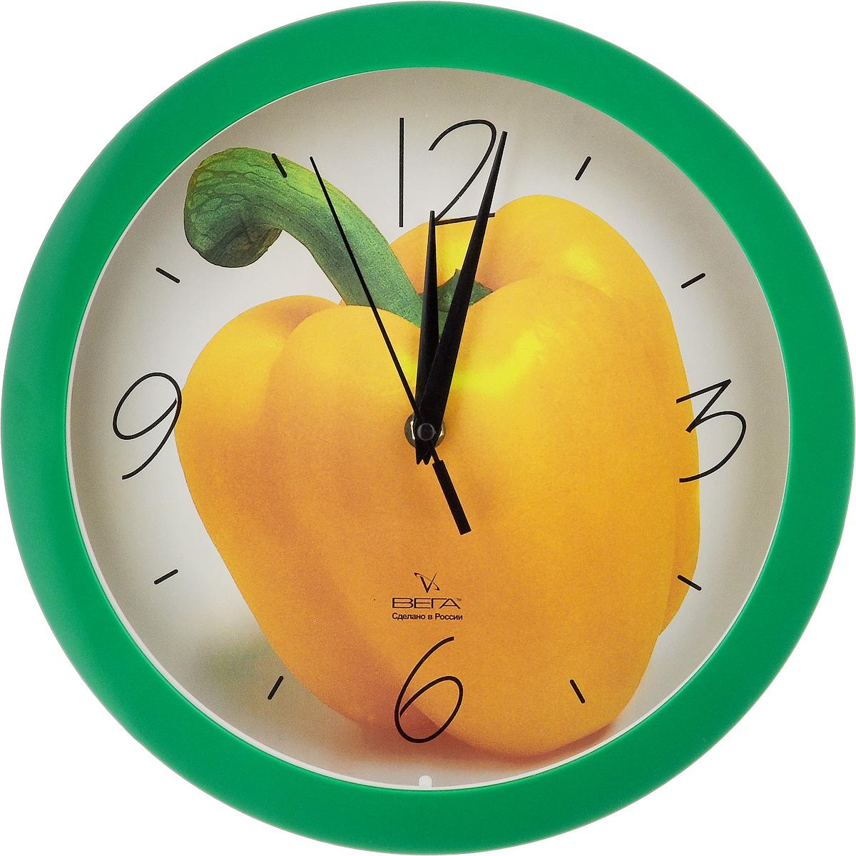 Часы настенные Вега Желтый перец, диаметр 28,5 смП1-3/7-28Настенные кварцевые часы Вега Желтый перец, изготовленные из пластика, прекрасно впишутся в интерьер вашего дома. Круглые часы имеют три стрелки: часовую, минутную и секундную, циферблат защищен прозрачным стеклом. Часы работают от 1 батарейки типа АА напряжением 1,5 В (не входит в комплект). Диаметр часов: 28,5 см.