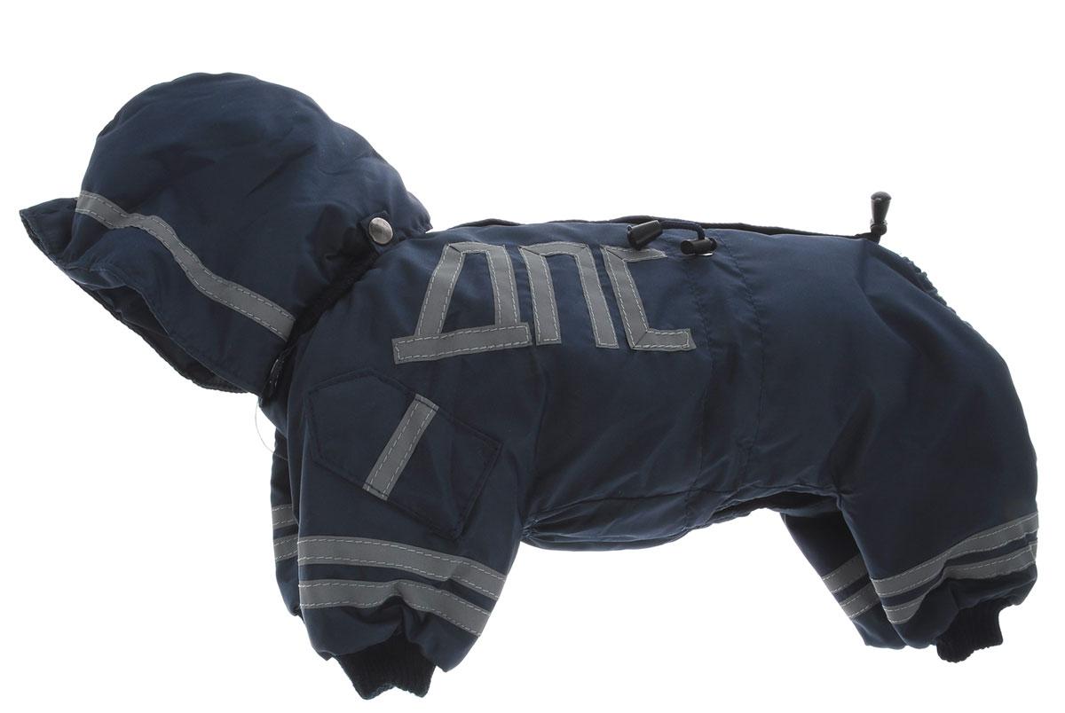 Комбинезон для собак Kuzer-Moda ДПС, для мальчика, утепленный, цвет: синий, серый. Размер SKZ003150Комбинезон для собак Kuzer-Moda ДПС стилизован под форму сотрудников автоинспекции. Изделие отлично подойдет для прогулок в прохладную погоду. Комбинезон изготовлен из прочной, ткани, которая сохранит тепло и обеспечит отличный воздухообмен. Комбинезон застегивается на кнопки, благодаря чему его легко надевать и снимать. Ворот, низ рукавов и брючин оснащены резинками, которые мягко обхватывают шею и лапки, не позволяя просачиваться холодному воздуху. Изделие снабжено светоотражающей лентой. На пояснице имеются затягивающиеся шнурки, которые также не позволяют проникнуть холодному воздуху. Благодаря такому комбинезону простуда не грозит вашему питомцу, и он не даст любимцу продрогнуть на прогулке.
