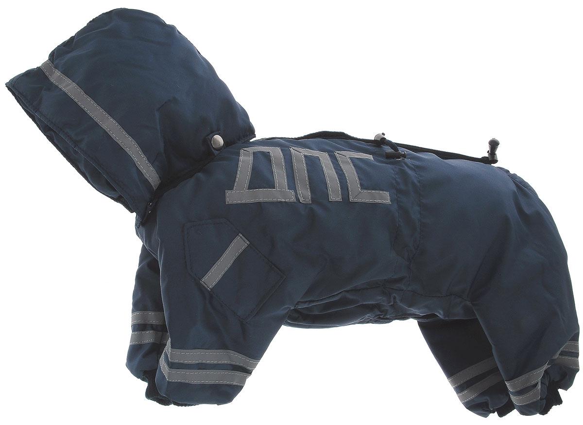 Комбинезон для собак Kuzer-Moda ДПС, для мальчика, утепленный, цвет: синий, серый. Размер MKZ002862Комбинезон для собак Kuzer-Moda ДПС стилизован под форму сотрудников автоинспекции. Изделие отлично подойдет для прогулок в прохладную погоду. Комбинезон изготовлен из прочной, ткани, которая сохранит тепло и обеспечит отличный воздухообмен. Комбинезон застегивается на кнопки, благодаря чему его легко надевать и снимать. Ворот, низ рукавов и брючин оснащены резинками, которые мягко обхватывают шею и лапки, не позволяя просачиваться холодному воздуху. Изделие снабжено светоотражающей лентой. На пояснице имеются затягивающиеся шнурки, которые также не позволяют проникнуть холодному воздуху. Благодаря такому комбинезону простуда не грозит вашему питомцу, и он не даст любимцу продрогнуть на прогулке.