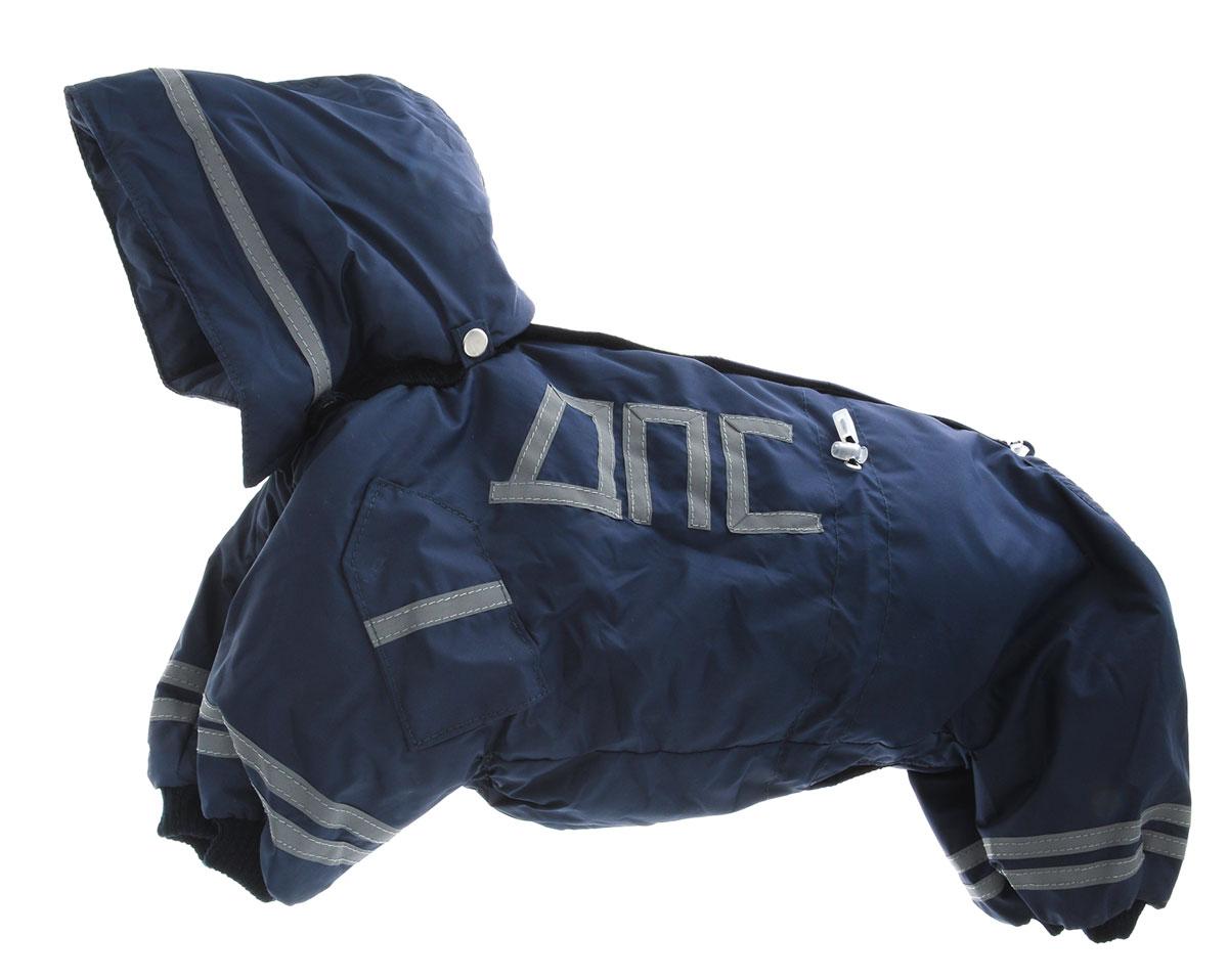Комбинезон для собак Kuzer-Moda ДПС, для мальчика, утепленный, цвет: синий, серый. Размер LKZ002852Комбинезон для собак Kuzer-Moda ДПС стилизован под форму сотрудников автоинспекции. Изделие отлично подойдет для прогулок в прохладную погоду. Комбинезон изготовлен из прочной, ткани, которая сохранит тепло и обеспечит отличный воздухообмен. Комбинезон застегивается на кнопки, благодаря чему его легко надевать и снимать. Ворот, низ рукавов и брючин оснащены резинками, которые мягко обхватывают шею и лапки, не позволяя просачиваться холодному воздуху. Изделие снабжено светоотражающей лентой. На пояснице имеются затягивающиеся шнурки, которые также не позволяют проникнуть холодному воздуху. Благодаря такому комбинезону простуда не грозит вашему питомцу, и он не даст любимцу продрогнуть на прогулке.