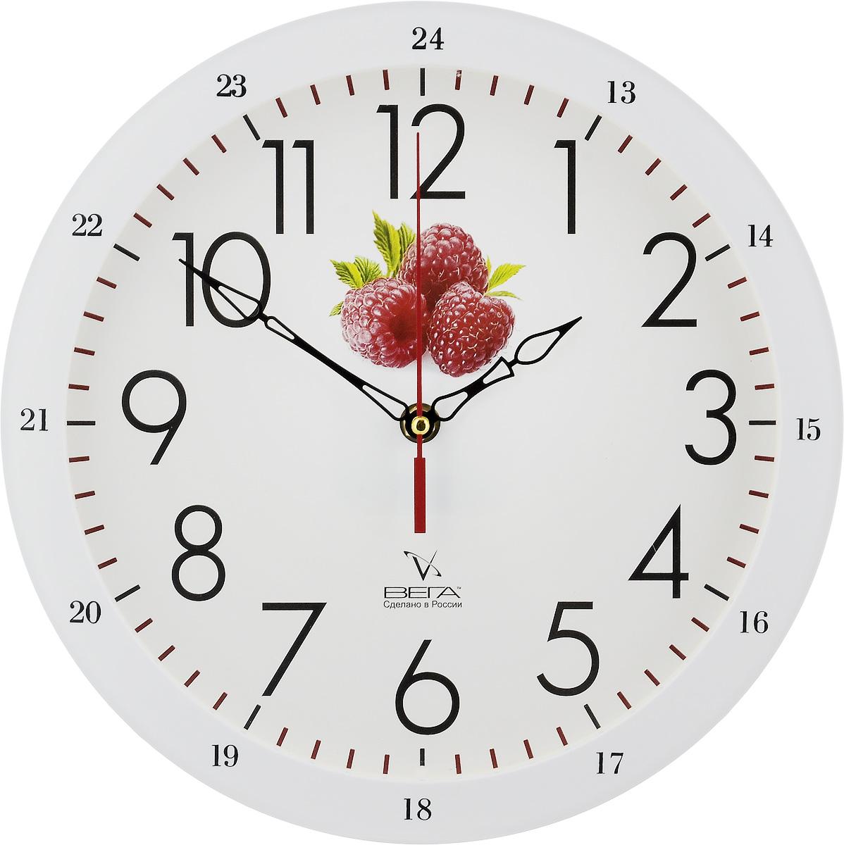 Часы настенные Вега Классика с малиной, диаметр 28,5 смП1-7619/7-31Настенные кварцевые часы Вега Классика с малиной, изготовленные из пластика, прекрасно впишутся в интерьер вашего дома. Круглые часы имеют три стрелки: часовую, минутную и секундную, циферблат защищен прозрачным стеклом. Часы работают от 1 батарейки типа АА напряжением 1,5 В (не входит в комплект). Диаметр часов: 28,5 см.