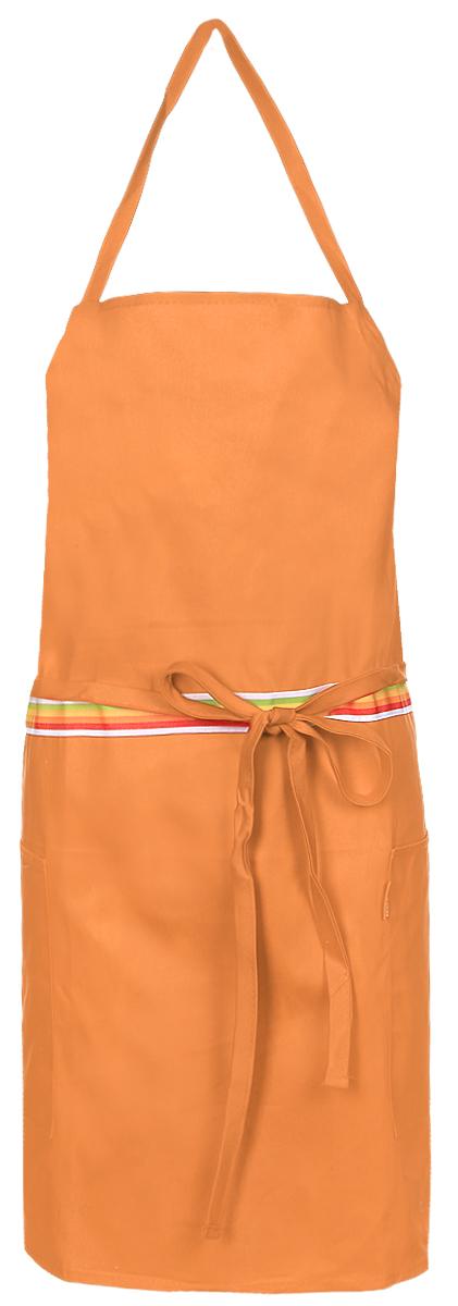 Фартук кухонный Tescoma Presto Tone, цвет: оранжевый. 639762639762Кухонный фартук Presto Tone изготовлен из 100% хлопка. Регулируемый шейный ремешок поможет подогнать фартук по росту. Удлиненный пояс можно завязать сзади или обернуть вокруг талии. Фартук имеет два накладных кармана для различных кухонных аксессуаров, а также съемный карман, куда можно положить телефон или другие мелкие предметы. Размер фартука: 73 х 67 см.