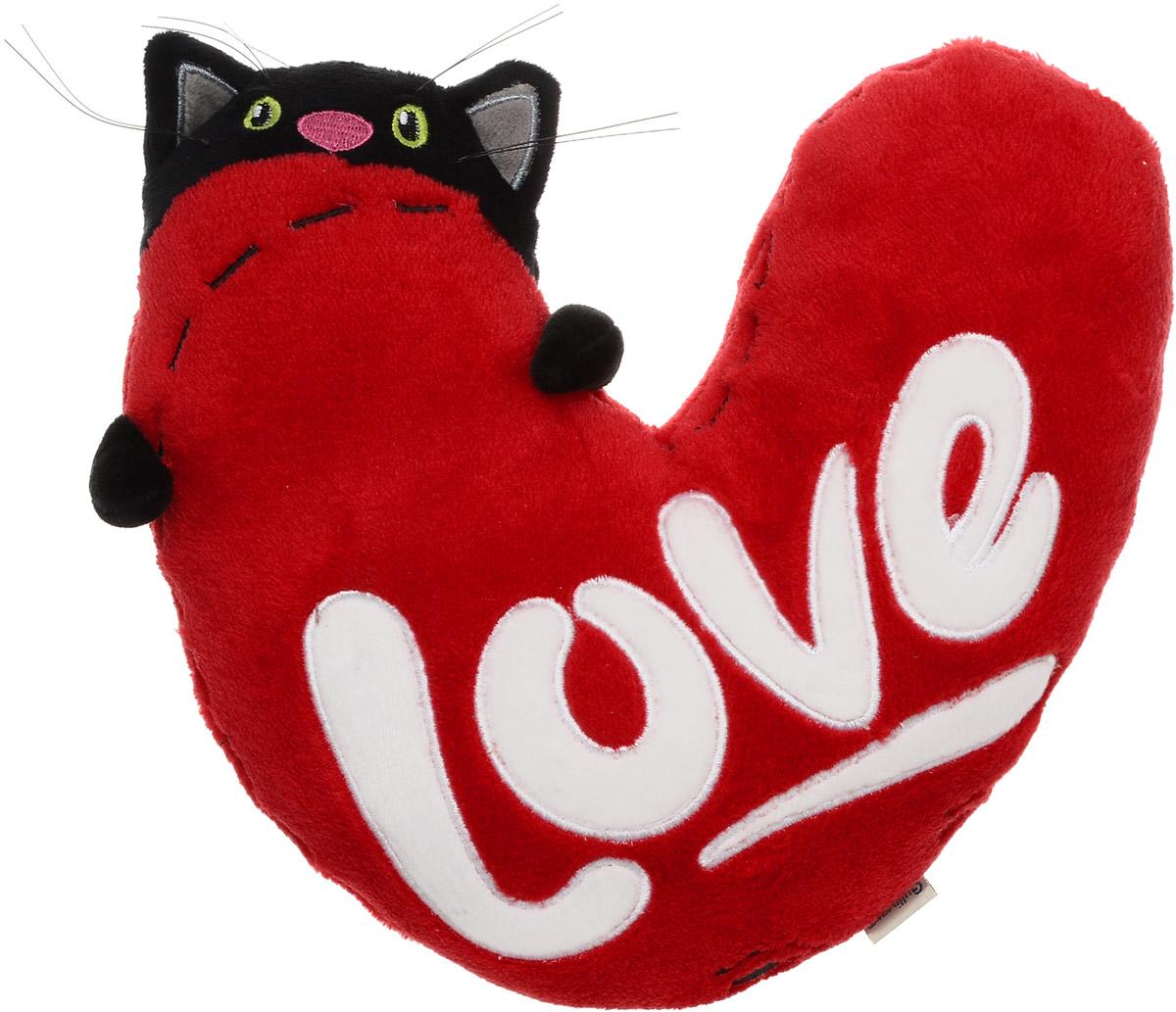 Gulliver Мягкая игрушка Кот с сердцем 23 см40-DN16-0145Мягкая игрушка Gulliver Кот с сердцем - забавная игрушка, выполненная в виде кота с сердцем, может стать не только подарком или сувениром, но и подушкой. Выполнена из мягкого и приятного на ощупь текстиля игрушка набита упругим наполнителем, поэтому ее будет очень приятно обнимать. Черный котик с зелеными глазами держит в лапках огромное красное сердце с надписью Love - такая мягкая игрушка придется по душе не только детям, но и взрослым.