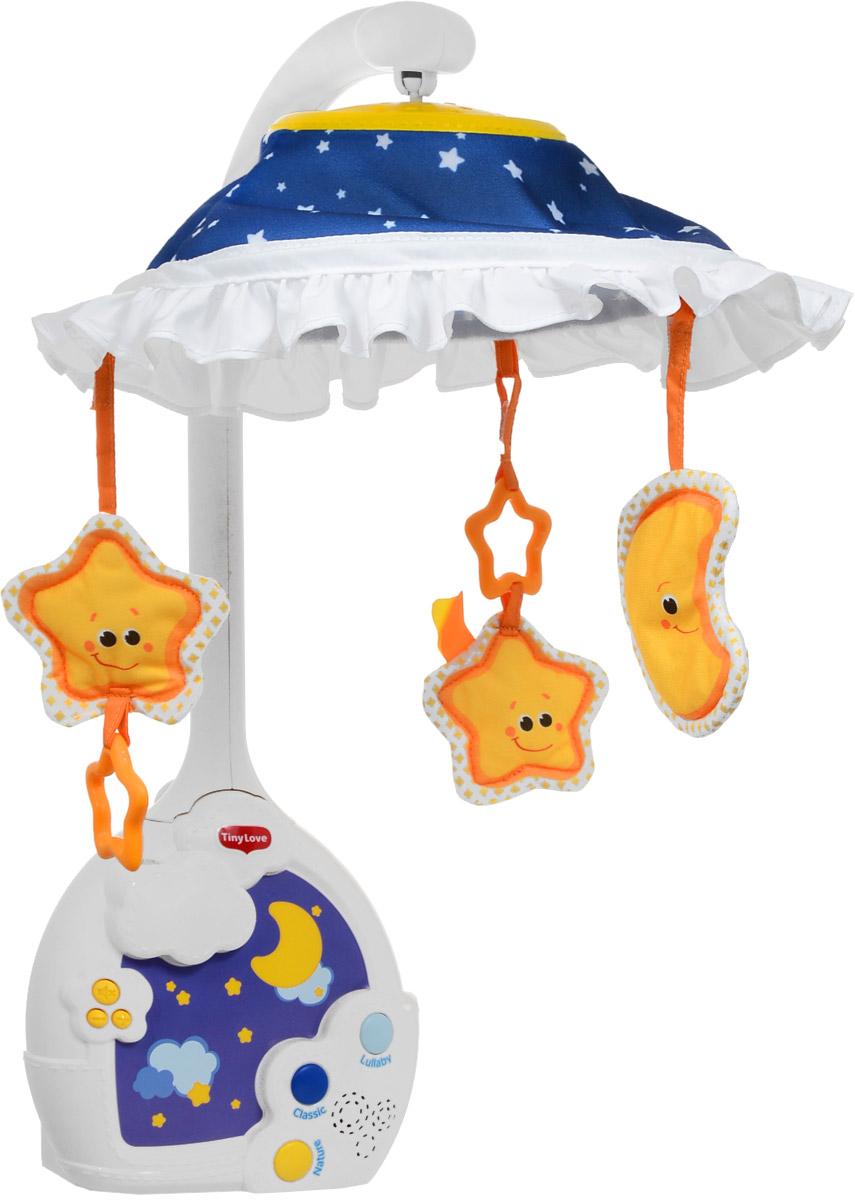 Tiny Love Музыкальный мобиль Звездная ночь1303276758Музыкальный мобиль Tiny Love Звездная ночь - это игрушка 3 в 1: мобиль на кроватку, музыкальная шкатулка и проектор. Игрушка растет вместе с малышом, приспосабливаясь к разным стадиям его развития. Проектор и очаровательные игрушки-зверюшки будут развлекать малютку днем, и убаюкивать ночью. Широкий выбор музыки: 3 категории, 9 мелодий общей продолжительностью 30 минут. Сказочные впечатления от рождения и до ясельного возраста! Характеристики: 0-5 месяцев: дайте младенцу насладиться мобилем Звездная ночь во всей красе, с проецированием изображений на купол (опционально); 5-12 месяцев: придайте мобилю форму музыкального центра с проецированием изображений на потолок; 12-24 месяца: пусть малыш блаженствует, созерцая ночное звездное небо и слушая упоительные мелодии. Мобиль Звездная ночь позволит вам адаптировать стимулы к уникальным предпочтениям и реакциям вашего малыша, совершенствуя тем самым его чувства и ощущения. Вы можете выбрать характер музыки, установить...