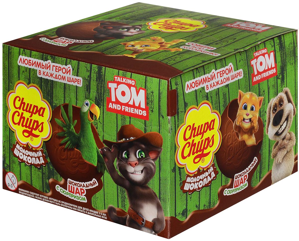 Chupa Chups Говорящий Том молочный шоколад , 18 штук по 20 г8252912Внутри каждого шоколадного шара Чупа Чупс вы найдёте новую игрушку, а снаружи - именно такой шоколад, как вы любите. Какая игрушка попадётся вам в этот раз? Соберите всю коллекцию и обменивайтесь с друзьями! Говорящий Том, говорящая Анджела и другие герои тусовки ждут тебя в новой коллекции шоколадных шаров Чупа Чупс. Собери все игрушки, и сладкое приключение начнётся! Уважаемые клиенты! Обращаем ваше внимание, что полный перечень состава продукта представлен на дополнительном изображении.