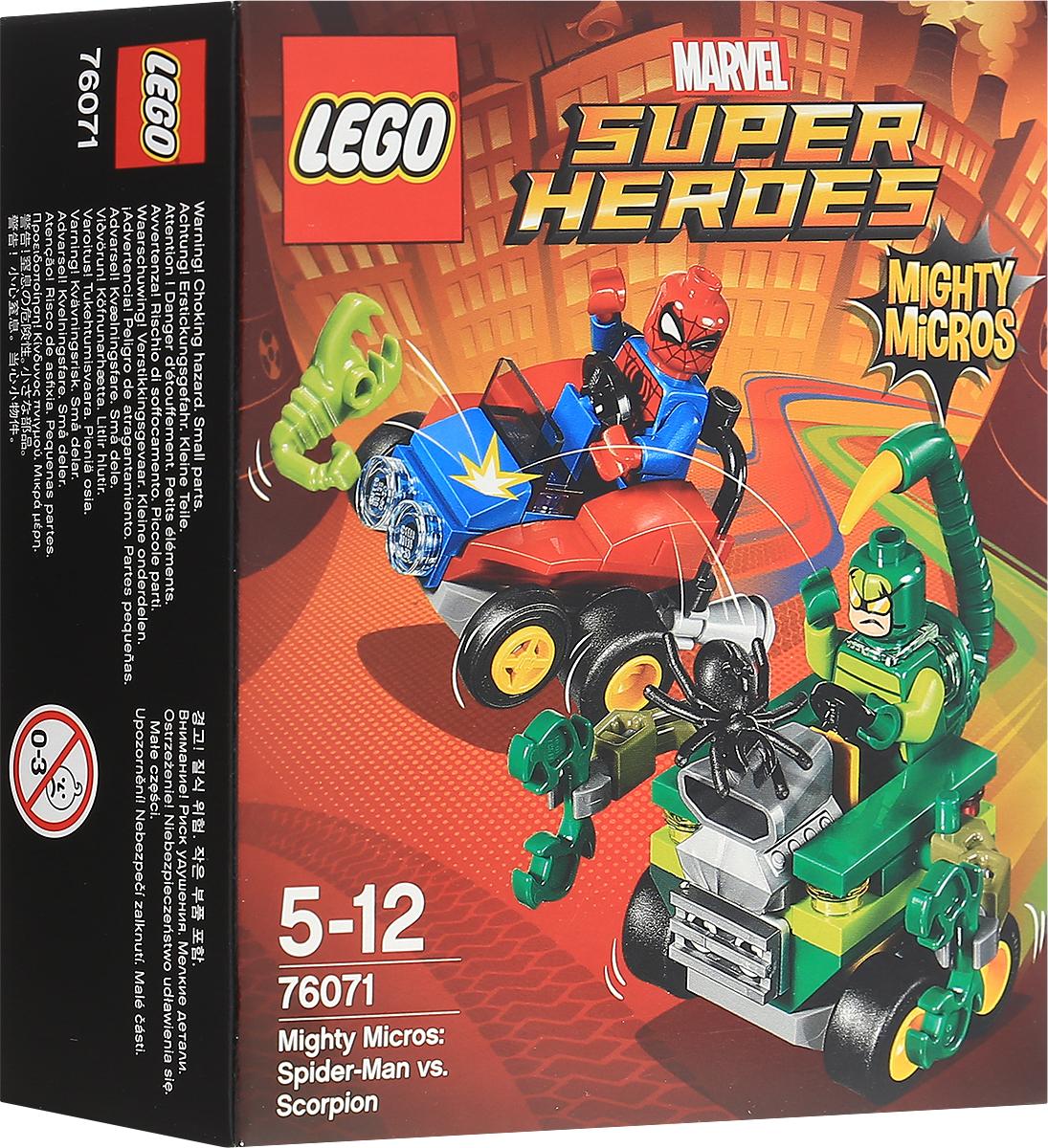 LEGO Super Heroes Конструктор Mighty Micros Человек-паук против Скорпиона 7607176071Человек-паук и Скорпион сошлись в смертельной схватке! Направьте жало на хвосте автомобиля суперзлодея на Человека-паука или используйте клешни, чтобы вытащить супергероя из его автомобиля. Нанесите ответный удар мини-спайдером Человека-паука. Но не забывайте про летающего мини-скорпиона! Набор включает в себя 79 разноцветных пластиковых элементов. Конструктор - это один из самых увлекательных и веселых способов времяпрепровождения. Ребенок сможет часами играть с конструктором, придумывая различные ситуации и истории.