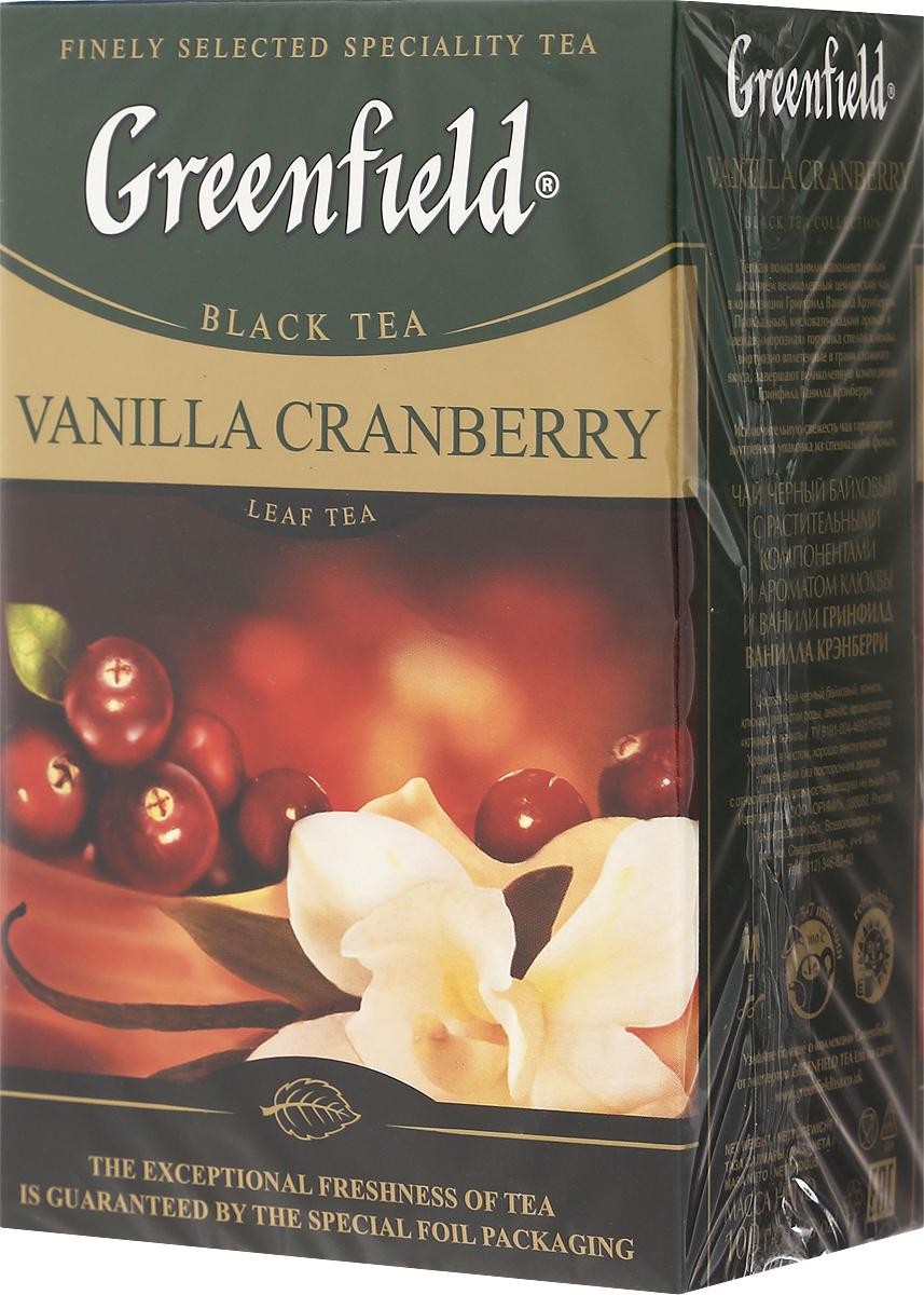 Greenfield Vanilla Cranberry черный листовой чай, 100 г1117-15Теплая волна ванили наполняет новым дыханием великолепный цейлонский чай в композиции Гринфилд Ванилла Крэнберри. Прохладный, кисловато-сладкий аромат и свежая морозная горчинка спелой клюквы, виртуозно вплетенные в грани сложного вкуса, завершают великолепную композицию Greenfield Vanilla Cranberry. Уважаемые клиенты! Обращаем ваше внимание, что полный перечень состава продукта представлен на дополнительном изображении.