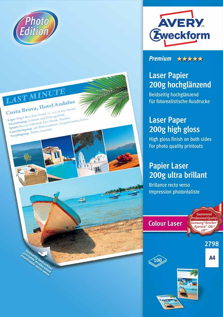 Avery Zweckform Бумага для лазерных принтеров глянцевая двухсторонняя 200 г/м2 100 листов