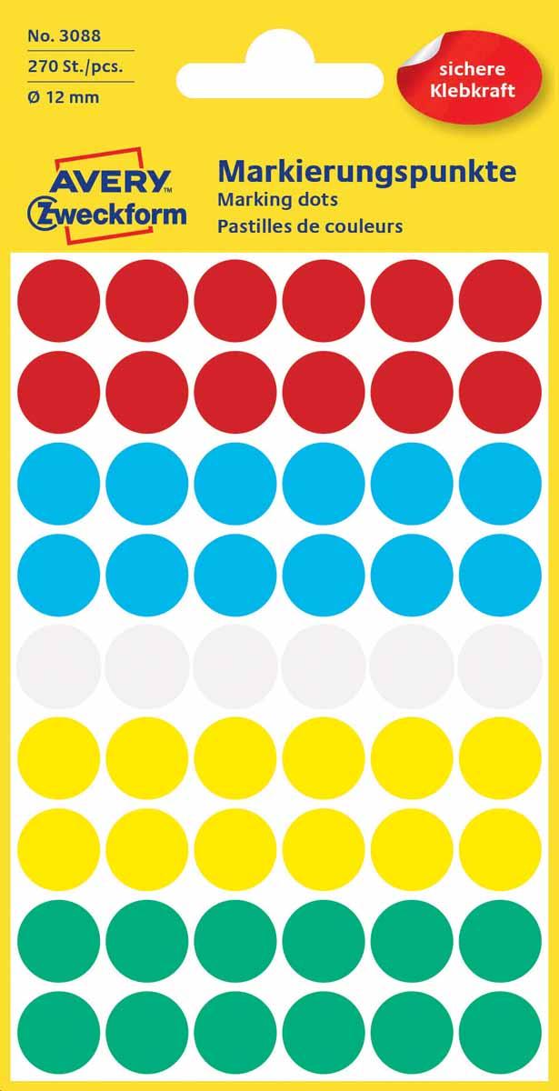 Avery Zweckform Этикетки-точки для выделения диаметр 12 мм 270 шт3088Круглые этикетки-точки Avery Zweckform идеальны для пометок и выделения важной информации и напоминаний. Представлены в виде разноцветных(белых,красных,синих,зеленых и желтых) круглых точек диаметром 12 мм. Круглые этикетки удобны для выделения выходных дней и отпусков в календаре, для отметок в рабочем планнинге, на картах.