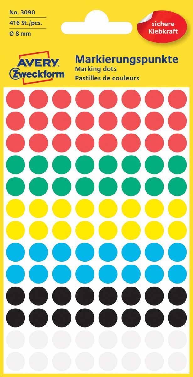 Avery Zweckform Этикетки круглые диаметр 8 мм 416 шт3090Круглые этикетки-точки идеальны для пометок и выделения важной информации и напоминаний. Представлены в виде разноцветных(белых, черных,красных,синих,зеленых и желтых) круглых точек диаметром 8мм. Круглые этикетки удобны для выделения выходных дней и отпусков в календаре, для отметок в рабочем планнинге, на картах. Тип клеящейся поверхности: перманентные Цвет: разноцветные Диаметр: 8мм Этикеток в упаковке: 416 Форма: круглая