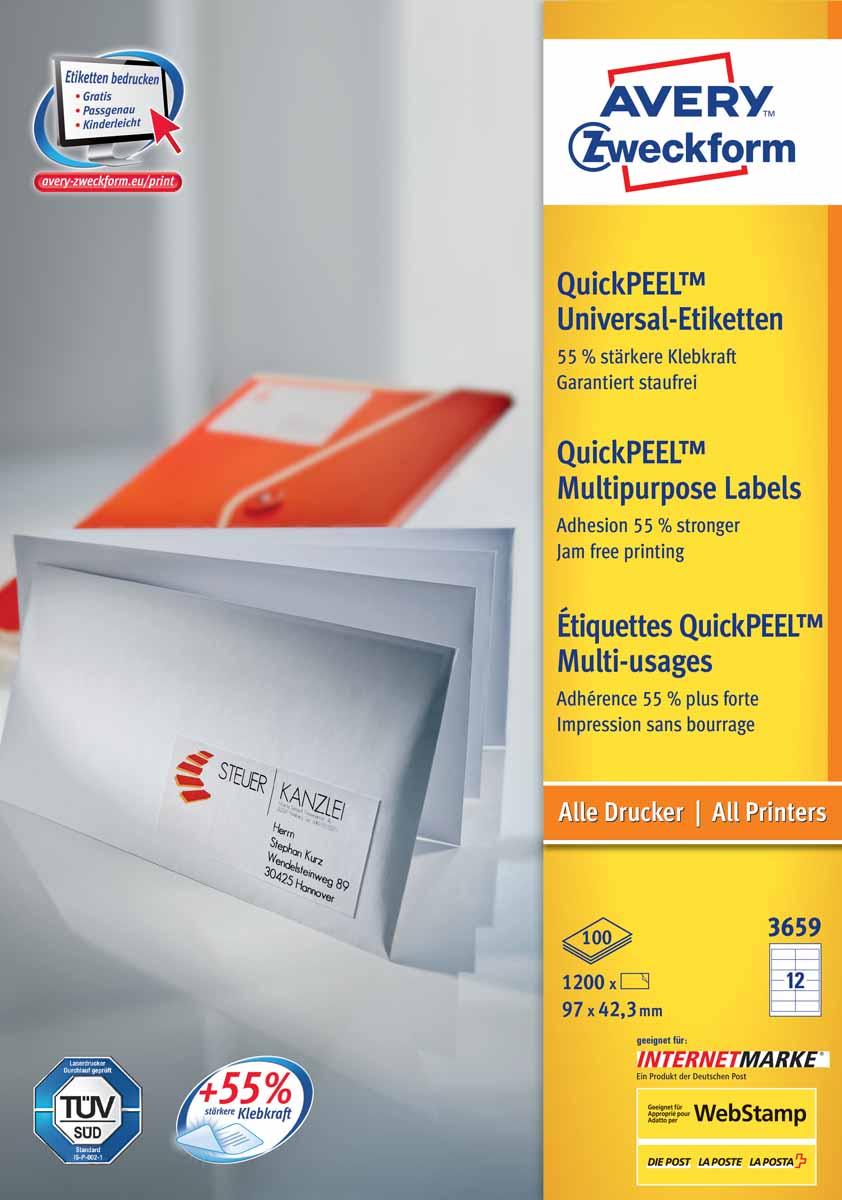 Avery Zweckform Этикетки самоклеящиеся универсальные Quick PEEL 97 х 42,3 мм 1200 шт 100 листов 3659