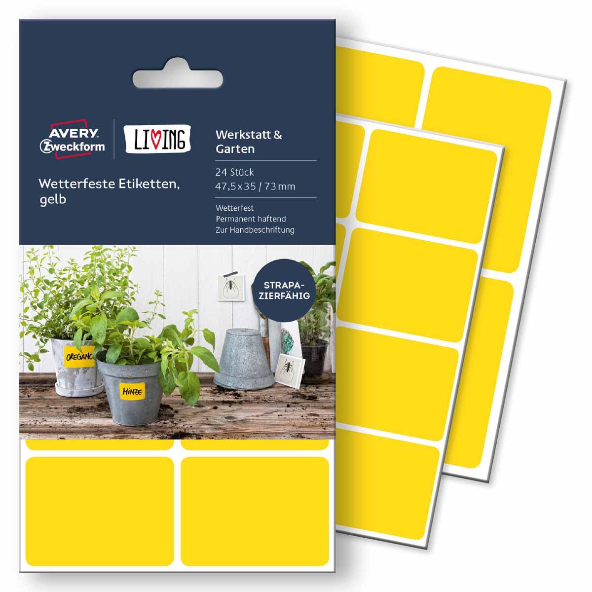 Avery Zweckform Этикетки для дома Living 47,5 х 35 мм цвет желтый62026Для этих этикеток нет плохой погоды! Всепогодные этикетки специально созданы использования на улице. Вы можете наклеивать их на цветочные горшки, почтовые ящики, мусорные баки и т.д. Они отлично выдерживают холода, дожди и прочие погодные условия. Материал: полиэстер. Кол-во: 2 листа/16 этикеток. Применение: для надписи от руки. Область применения: водо-,грязе-, масло-, термостойкие (выдерживают перепад температур от -20 С до + 80 С), надежное крепление на различных поверхностях. Тип клеящейся поверхности: перманентные Цвет: желтый Размеры: 47,5 х 35 мм Количество листов в упаковке: 4 Этикеток на листе: 6 Этикеток в упаковке: 24 Форма: прямоугольная