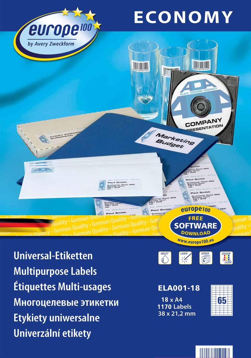 Avery Zweckform Этикетки самоклеящиеся Европа-100 38 х 21,2 мм 18 листов