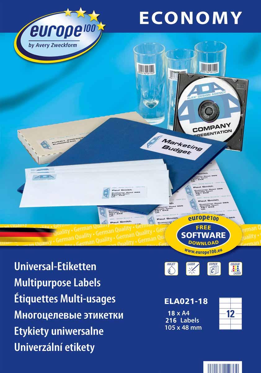 Avery Zweckform Этикетки самоклеящиеся Европа-100 105 х 48 мм 18 листов