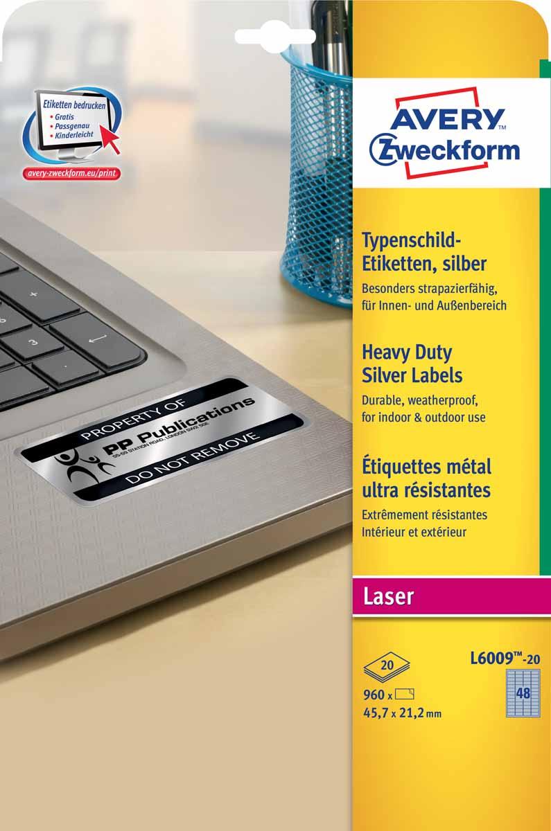 Avery Zweckform Этикетки серебристые полиэстерные 45,7 х 21,2 мм 20 листов L6009-20