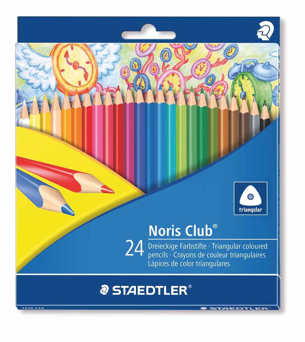 Staedtler Набор цветных карандашей Noris Club 24 цвета1270C24Цветные карандаши Staedtler Noris Club помогут маленькому художнику создавать настоящие произведения искусства. Набор состоит из 24 самых разных насыщенных цветов. Изделия имеют прочный грифель и удобную шестигранную форму, которая позволяет легко их затачивать. Такие карандаши будет незаменимы в процессе обучения и для детского творчества. Набор упакован в яркую коробочку с оригинальным дизайном.