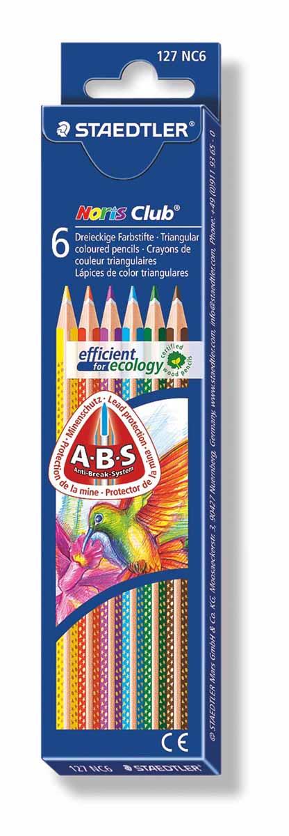 Staedtler Набор цветных карандашей Noris Club 6 цветов127NC6Набор цветных карандашей трехгранной формы для удобного и легкого письма, Staedtler. Содержит 6 цветов в ассортименте. Широкий выбор возможностей для рисования.
